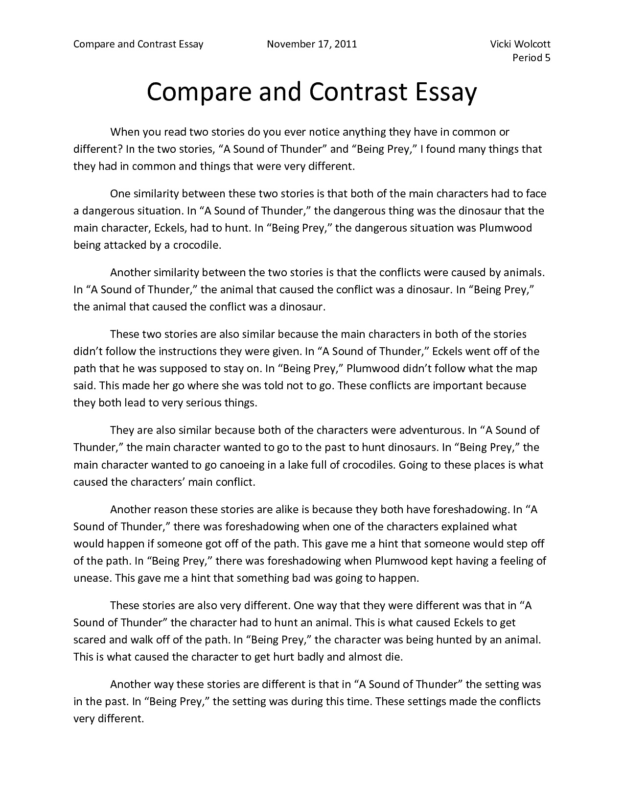 Compare and contrast essay examples college outline