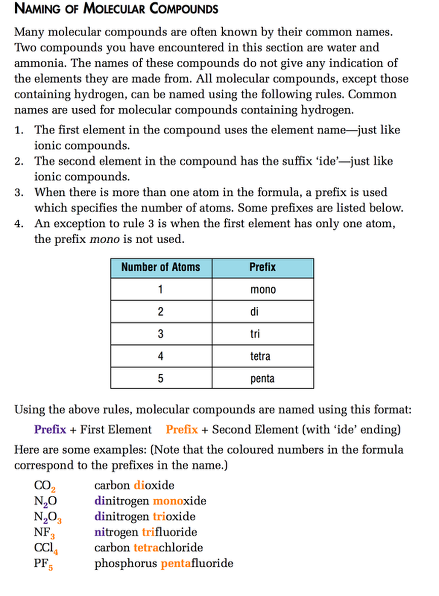 worksheet Molecular Compounds Worksheet section 3 mrs bohaychuks information station how to write chemical formulas from compound names